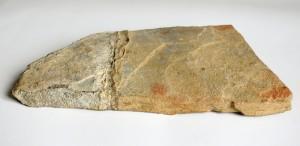 Plaquette gravée bison et traces de doigts colorés
